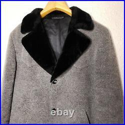 Vintage Pendleton High Grade Western Wear Coat Jacket Gray Wool Fur Collar XL