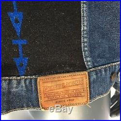 Vintage Pendleton Mens Denim Jacket Size XL Aztec Print Wool Inset Rodeo Western