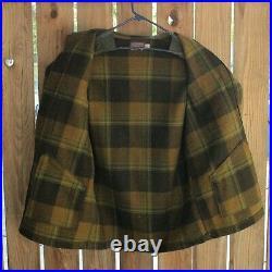 Vintage Pendleton Mens L Mackinaw Plaid Coat / Jacket Cruiser Wool Heavy 60s