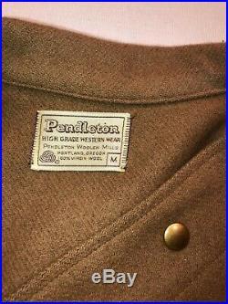 Vintage Pendleton Wool Western Jacket/shirt Men's Tag Size Medium White Label