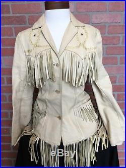 Vintage Pioneer Wear Womens Leather Jacket 60s Western Size 14 Fringe (3U8)