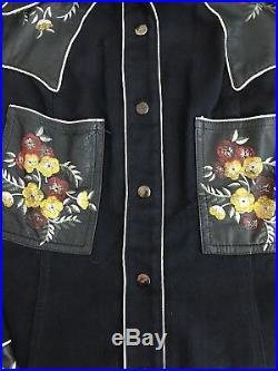 Vintage Roncelli Shirt Jacket Western Leather Floral Rare