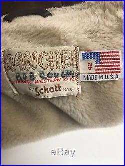 Vintage SCHOTT Bros. USA Western Suede Brown Leather Sherpa Rancher Jacket Sz 42