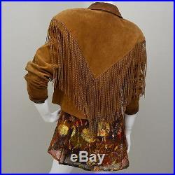 Vintage SQUAW Western Indianer 30cm Fransen Leder Jacke Cape 70er Cognac Hippy L