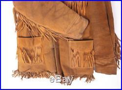 Vintage Schott Heavy Suede Buckskin Fringed Western Leather Jacket Size 42
