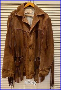Vintage Schott Rancher Western Fringed Suede Jacket Coat Size 40
