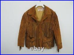 Vintage Schott Western Fringe Suede Brown Jacket Coat Mens Size 44 USA Made