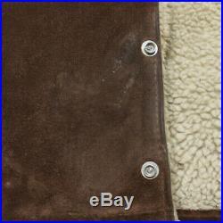 Vintage Schott Western Heavy Suede Leather Jacket Size 46 Sherpa Lined Large