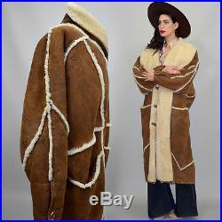 Vintage Shearling Sheep Fur Maxi Western Embroidered Coat Beaded Blanket Navajo