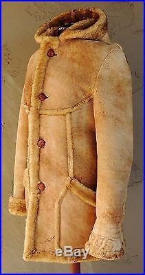 Vintage Shearling Sheepskin Hooded Western Coat Jacket