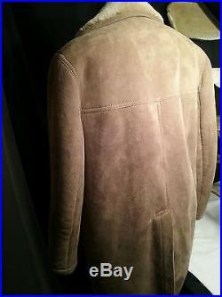 Vintage Shearling sheepskin Sawyer of Napa cowboy men jacket coat western 44