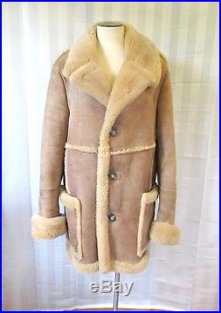 Vintage Sheepskin Jacket 1960s 1970s Suede Leather Shearling Fur Coat 44 46