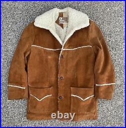 Vintage Sheepskin Shearling Suede Coat Jacket Cowboy Marlboro Man Western