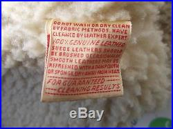 Vintage Sherpa Lined Heavy Suede Leather Jacket Western Rancher Size 42 Made USA