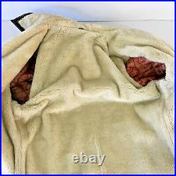Vintage Sherpa Lined Heavy Suede Leather Jacket Work Coat Pockets Sz 44 Green