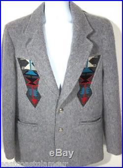 Vintage Southwest Wool Warm JACKET 40 L Western CHIMAYO Blanket COAT PioneerWear