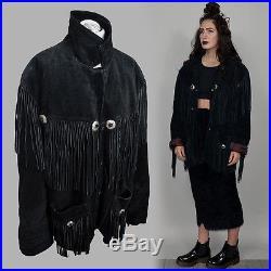 Vintage Studded Western Cowboy Native Fringe Leather Blanket Festival Coat Cape