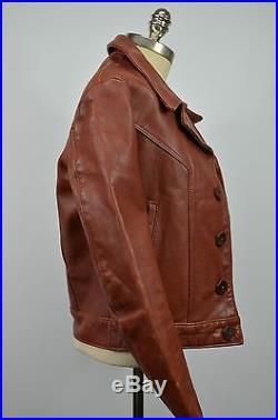 Vintage WALTER DYER Brown Leather Western Mod Motorcycle JACKET Octagon Buttons