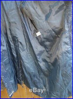 Vintage Western Fringe Trench Jacket Diamond Denim & Leather Womens Sz L USA