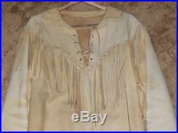 Vintage Western Wear Leather Jacket Coat Fringed Beaded Size Large