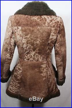 Vintage Womens Sheepskin SHEARLING by Lawrence WESTERN Coat Jacket Size S XS