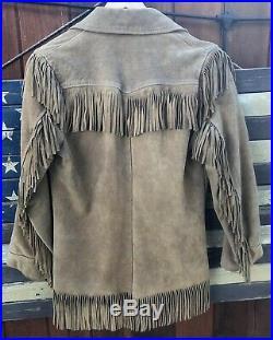 Vintage Womens Suede Leather Cowboy Western Fringe Jacket Coat Size 10 Medium