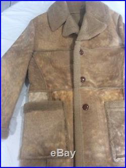 Vintage Woolrich Marlboro Man Sheepskin Shearling Leather Western Cowboy Coat 42