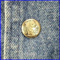 Vintage Woolrich Mens Large Blanket Lined Barn Coat Jacket Denim Leather Collar