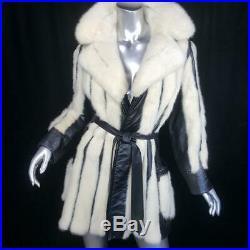 Vintagesz S/mblack Leather Blonde Off White Genuine Cross Mink Fur Coat Jacket