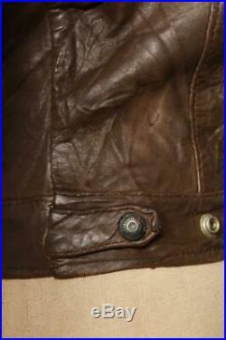 Vtg 1950s LEVIS Calfskin Leather Western Trucker Jacket Size Small