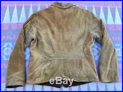 Vtg 40s 50s Lambliner Leather Jacket Soft Suede Western Motorcycle Mens Sz S/M