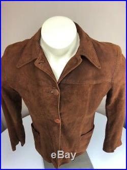 Vtg 40s-50s Levi Suede Leather Jacket Cowboy Western Wear Pine Tree Big E Tag