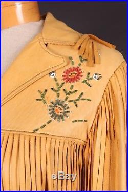 Vtg 50s Buckskin Leather Western Fringe Beaded Coat Jacket Womens Medium