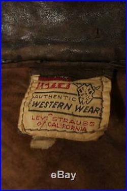 Vtg 50s LEVIS STRAUS Shorthorn Leather Western Motorcycle Trucker Jacket