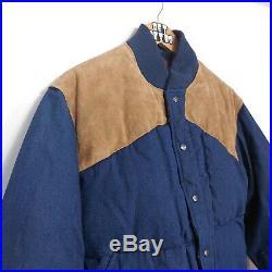 Vtg 80s Polo Ralph Lauren Mens Jacket Sz S Denim Suede Western Style Down RRL