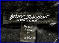 Vtg 90s Betsey Johnson Coat VELVET Black Embroider Jacket Ostrich Victorian M 8