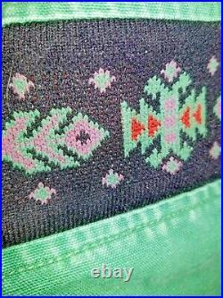 Vtg 90s Carhartt Navajo Aztec Jacket Coat Quilt Lined Faded Green Distressed