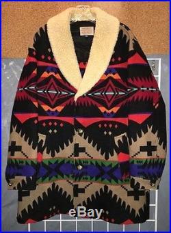 Vtg BRIGHT! Pendleton High Grade Western Wear Indian Blanket Coat 44