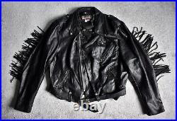 Vtg Brooks Black Leather Western Fringed Motorcycle Jacket Biker Coat 2XL/3XL 54