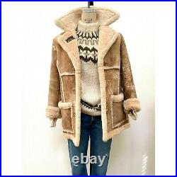 Vtg Coat SCHOTT Shearling Sheep Western Ranch Warm Trapper Leather Jacket S/M