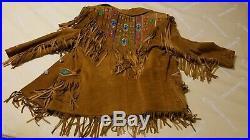 Vtg Erez Levy Western Native Suede Buckskin Fringe Coat Embellished Jacket Sz M