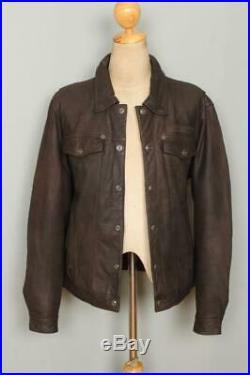 Vtg HARLEY DAVIDSON Leather Western Motorcycle Trucker Jacket Large