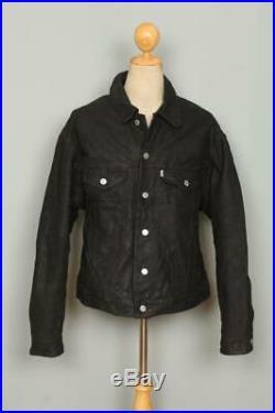 Vtg LEVIS Black Leather Western Motorcycle Trucker Jacket XL