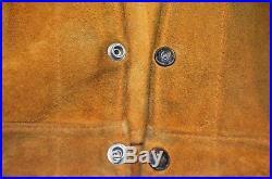 Vtg Levi Western Wear Short Horn Big E Trucker Jacket 40 Leather Buckskin Suede