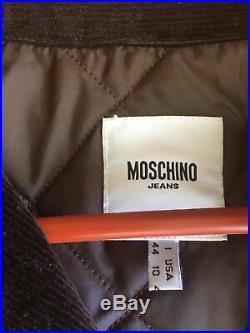 Vtg MOSCHINO JEANS Womens Brown Fringe Corduroy Jacket Western Biker 10 Italy