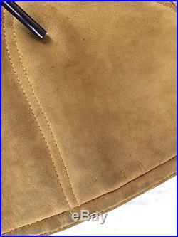 Vtg Neiman Marcus Sheepskin Shearling Suede Leather Wool Coat Western Jacket