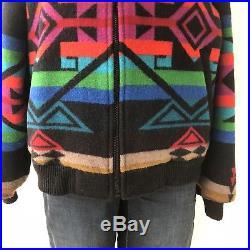 Vtg PENDLETON HIGH GRADE WESTERN Wear Wool Blanket Jacket Coat AZTEC NAVAJO Sz M