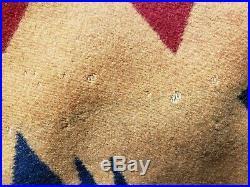 Vtg PENDLETON Western Wear Southwestern Native Wool Blanket Navy Blue Jacket szM