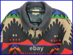 Vtg Pendleton High Grade Western Wear Wool Bomber Jacket Coat Southwest Aztec XL