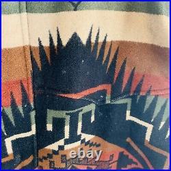 Vtg Pendleton Jacket Southwestern Aztec Wool Western USA Men's XL Coat Brown